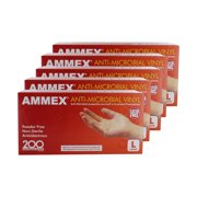 Ammex AAMV46100 5 Pack Anti-Microbial Vinyl Glove Latex Free Powder Free Large