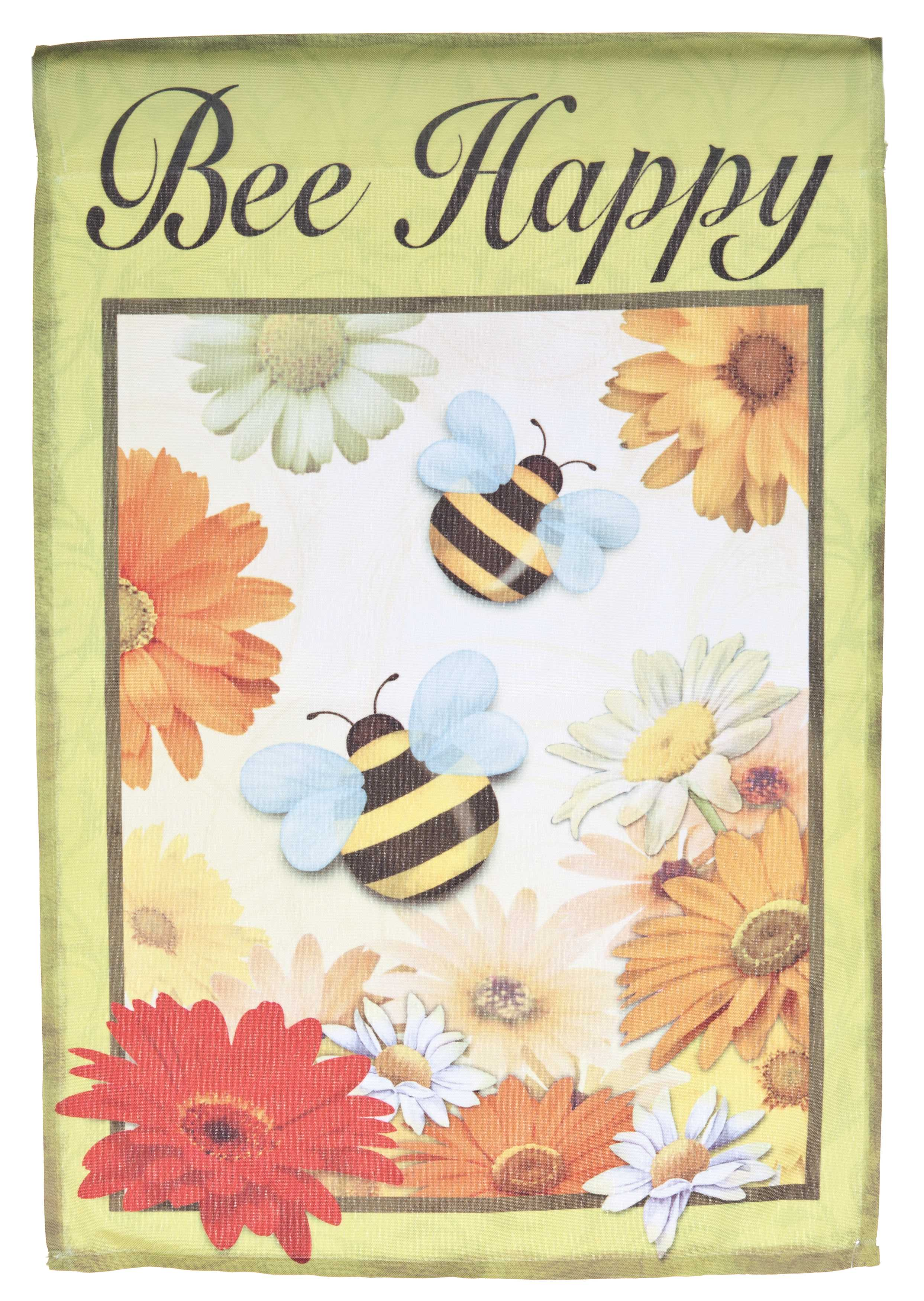 Bee Happy Lawn Flag by Garden Accents (12 x 18 Inch) by