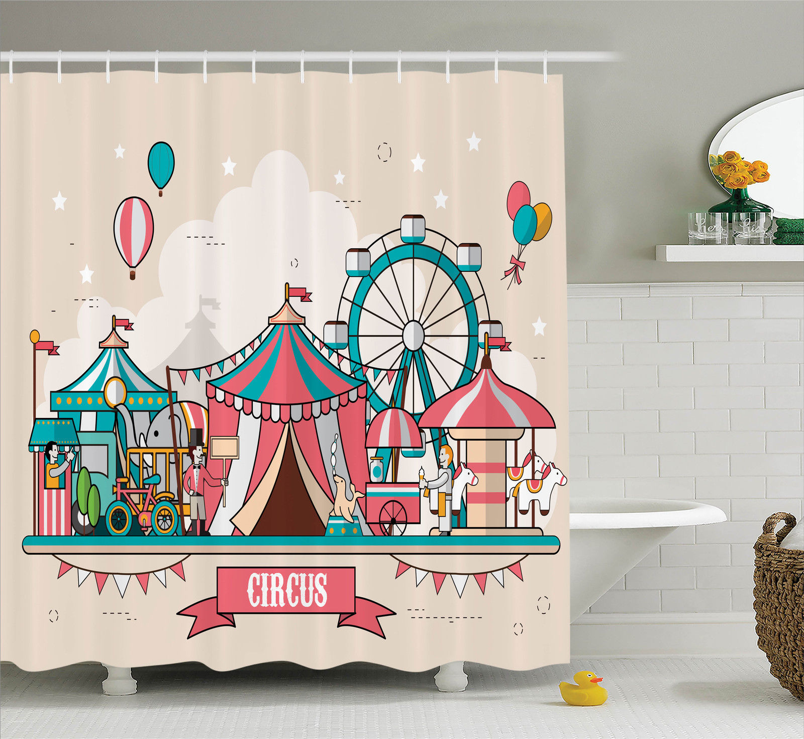 Circus Decor  Circus Facilities Scenery In Flat Design Style Balloons Children At Park Illustration, Bathroom Accessories, 69W X 70L Inches, By Ambesonne