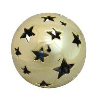 "Northlight 5.75"" Battery Operated LED Light Starry Night Shiny Ball Decor - Gold"
