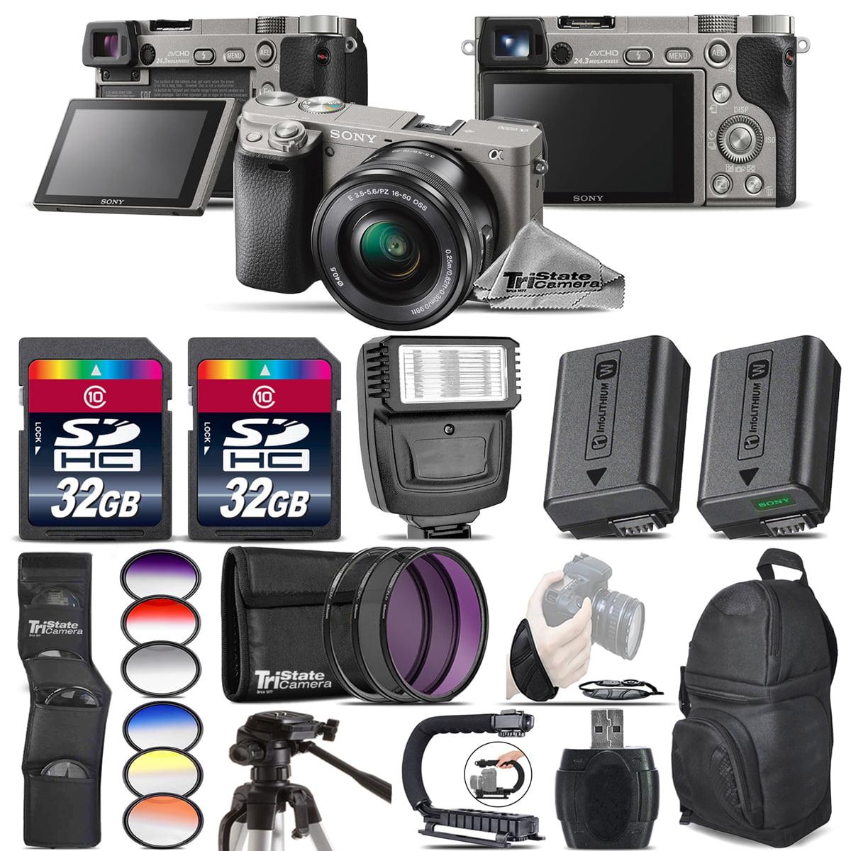 Sony Alpha a6000 Mirrorless Camera + Flash + Extra Battery + UV-CPL-FLD + 64GB