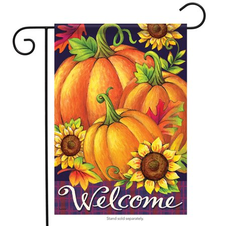 "Pumpkin Trio Welcome Fall Garden Flag Pumpkins Leaves Flowers 2 Sided 12.5""x18"""