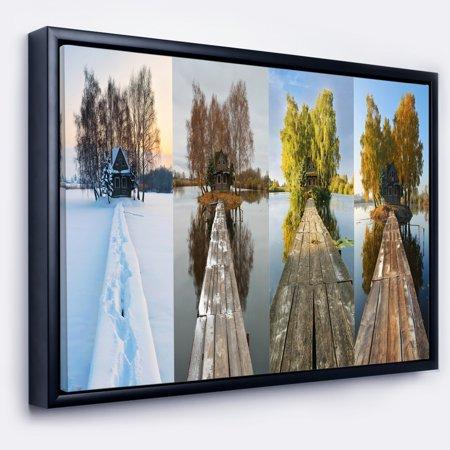 DESIGN ART Designart 'Houses on Small Island Panorama' Modern Seascape Framed Canvas