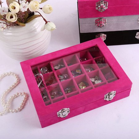 Siaonvr Jewelry Ring Velvet Glass Display Organizer Box Tray Holder Earring Storage Case Glass Jewelry Display Cases