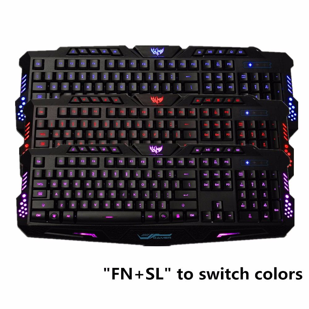 USB Wired 3 Colors Crack ledbacklitkeyboard Illuminated LED Backlight Multimedia PC Gaming Keyboard