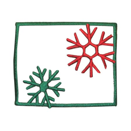 ID 8100 Snowflake Outline Patch Christmas Snow Scene Embroidered IronOn Applique - Snowflake Scenes