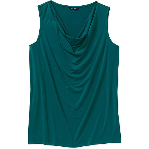 George Easy Wear Collection Women's Plus-Size Drape-Neck Shell Top