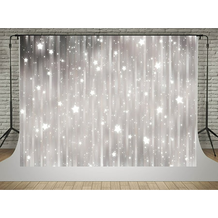 HelloDecor Polyster 5x7ft Photography Backdrops Glitter Stars Background for Photo Studio for Baby Birthday Party Backdrop