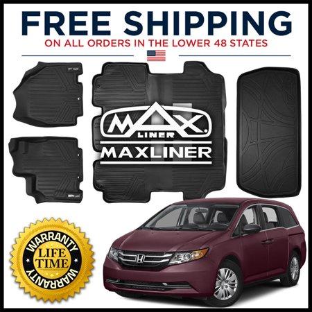 MAXFLOORMAT 2011-2017 Honda Odyssey 1st/2nd/3rd/Cargo Floor Liner Mats Set BLACK Honda Odyssey Mats
