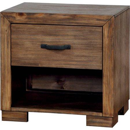 Reclaimed Heart Pine - Furniture of America Katheleen Rustic Nightstand, Reclaimed Pine Wood