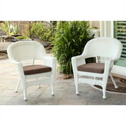 Jeco Wicker Chair in White with Tan Cushion (Set of 2)