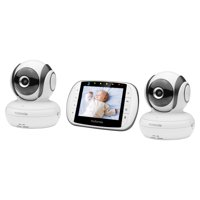 """Motorola MBP36S-2 Video Baby Monitor with 2 Cameras, 3.5"""" Color Screen, Remote Pan, Tilt, and Zoom, Two-Way Audio, and Room Temperature Display"""