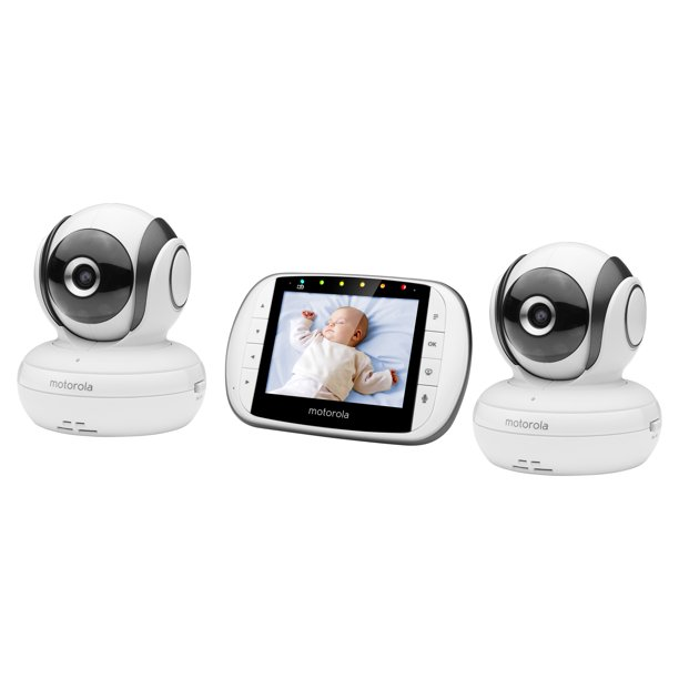 "Motorola MBP36S-2 Video Baby Monitor with 2 Cameras, 3.5"" Color Screen, Remote Pan, Tilt, and Zoom, Two-Way Audio, and Room Temperature Display"