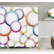 Geometric Decor Shower Curtain Set, Abstract Chained Colorful Bubbles And Circles Round Patterns Contemporary Art Home Decor, Bathroom Accessories, 69W X 70L Inches, By Ambesonne