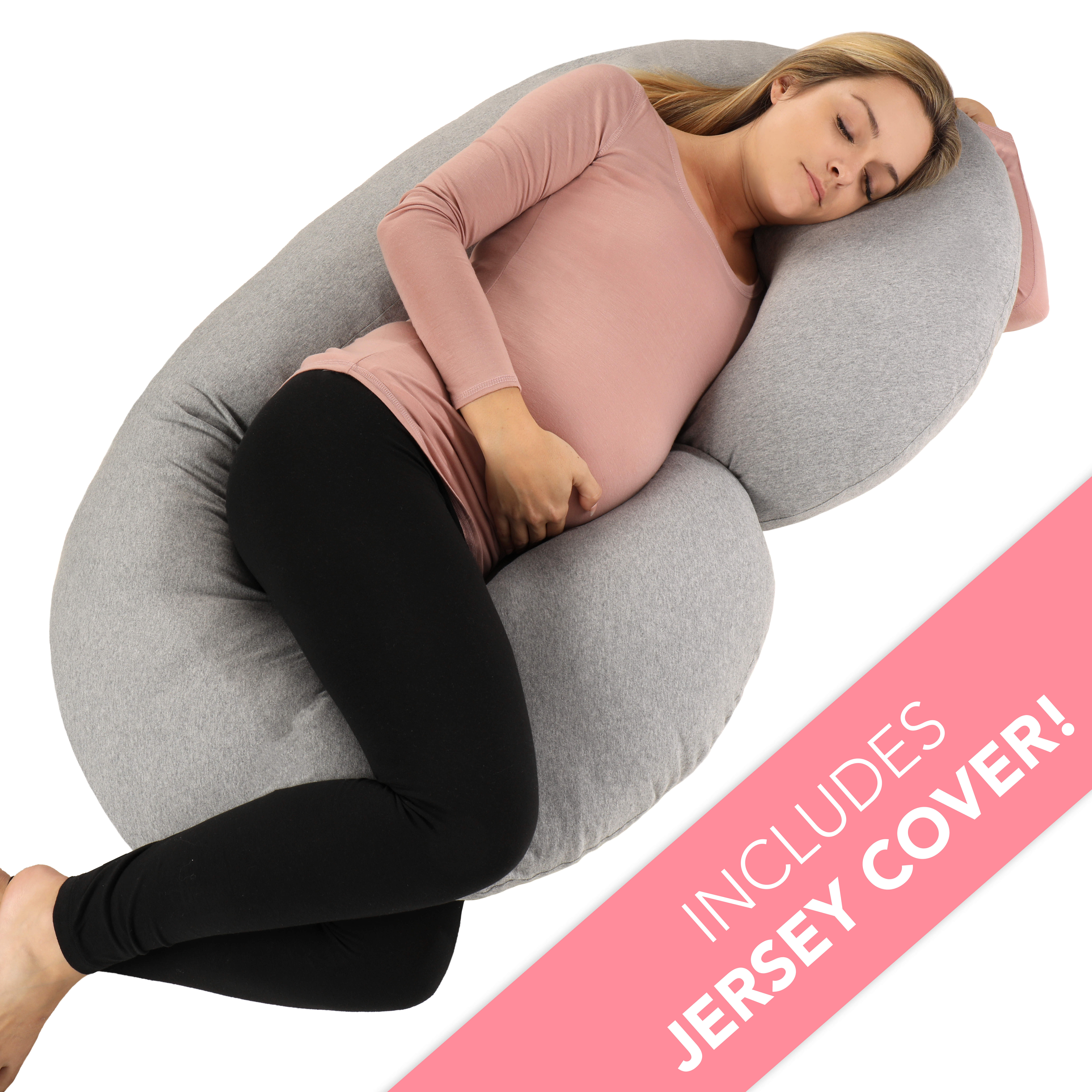 PharMeDoc Pregnancy Pillow with Soft Jersey Cover - C Shaped Body Pillow for Pregnant Women