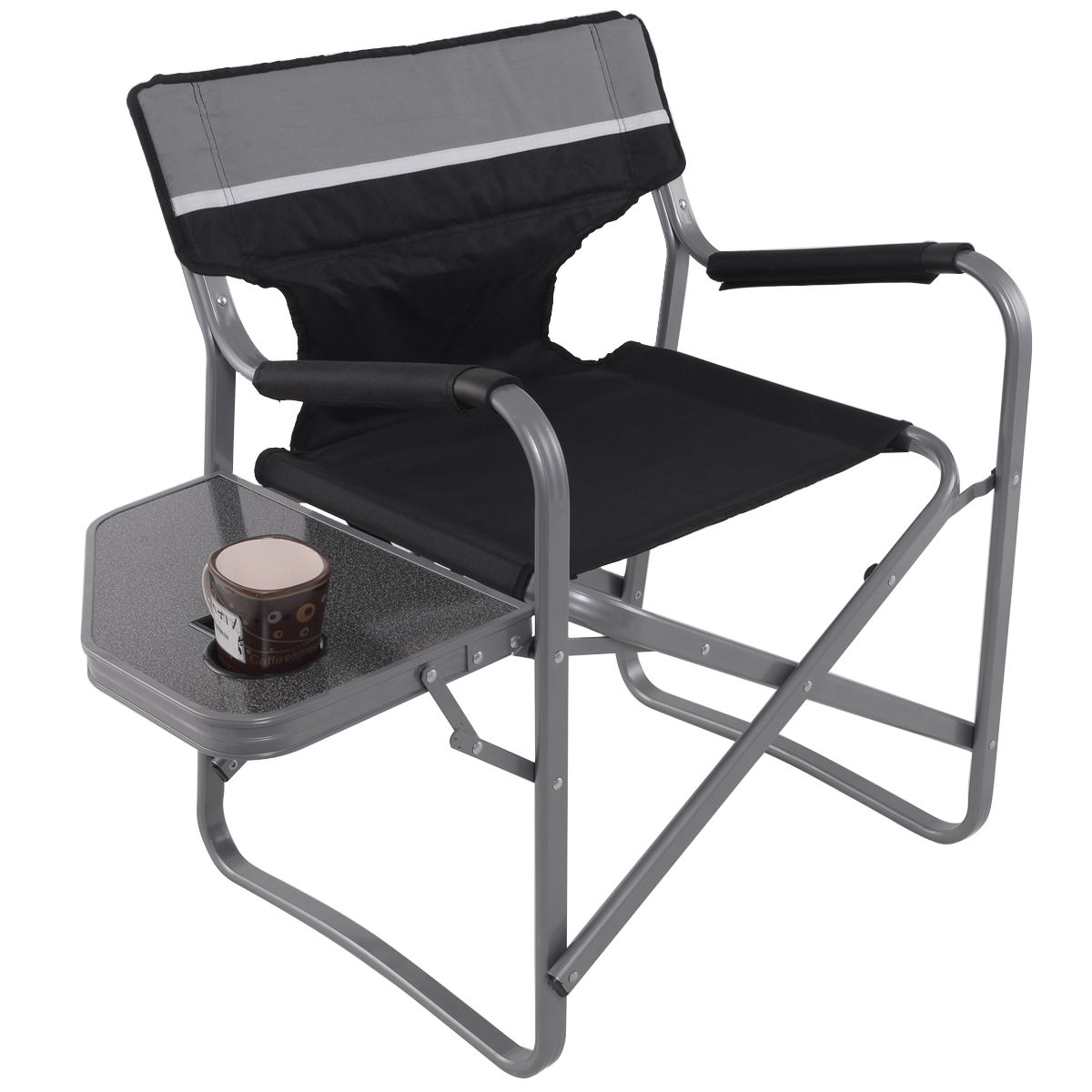 Folding Director Chair W/Side Table Cup Holder