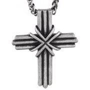 Antiqued Grooved Cross Pendant Necklace