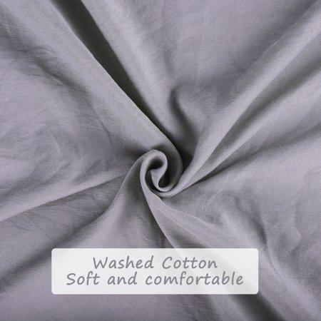 Pompons Duvet Cover and Sham Set King Size Bedding Soft Washed Cotton, Gray - image 5 de 8