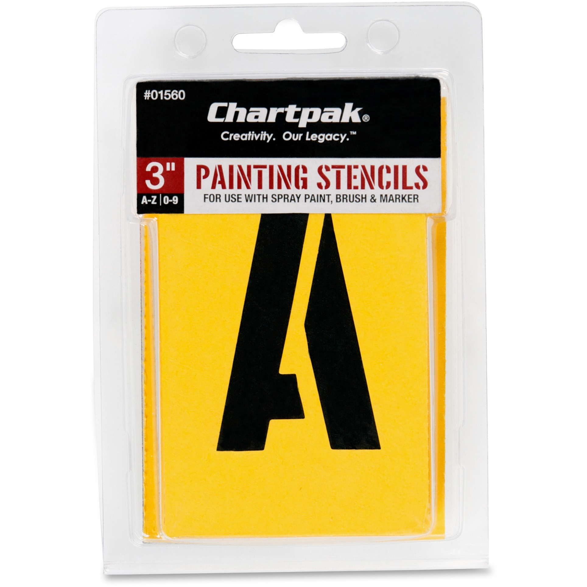Chartpak, CHA01560, Painting Letters/Numbers Stencils, 35 / Set, Yellow