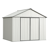 Steel Storage Shed 10 x 8 ft. Galvanized Extra High Gable Cream/ Charcoal Trim