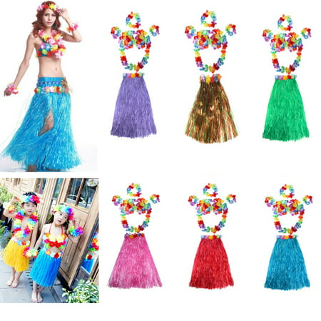 Hot Sale 6Pcs Adult Hawaiian Grass Skirt Flower Hula Lei Garland Wristband Dress Costume Today's Special Offer! - Kids Hula Skirt