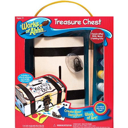 Masterpieces works of ahh wood paint kit treasure chest for Walmart arts and crafts paint