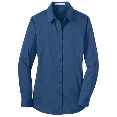 Port Authority Womens Open Collar Stretch Poplin Shirt