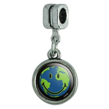 Smiley Smile World Earth Conservation Recycle Happy Face Italian European Style Bracelet Charm Bead Earth Italian Charm