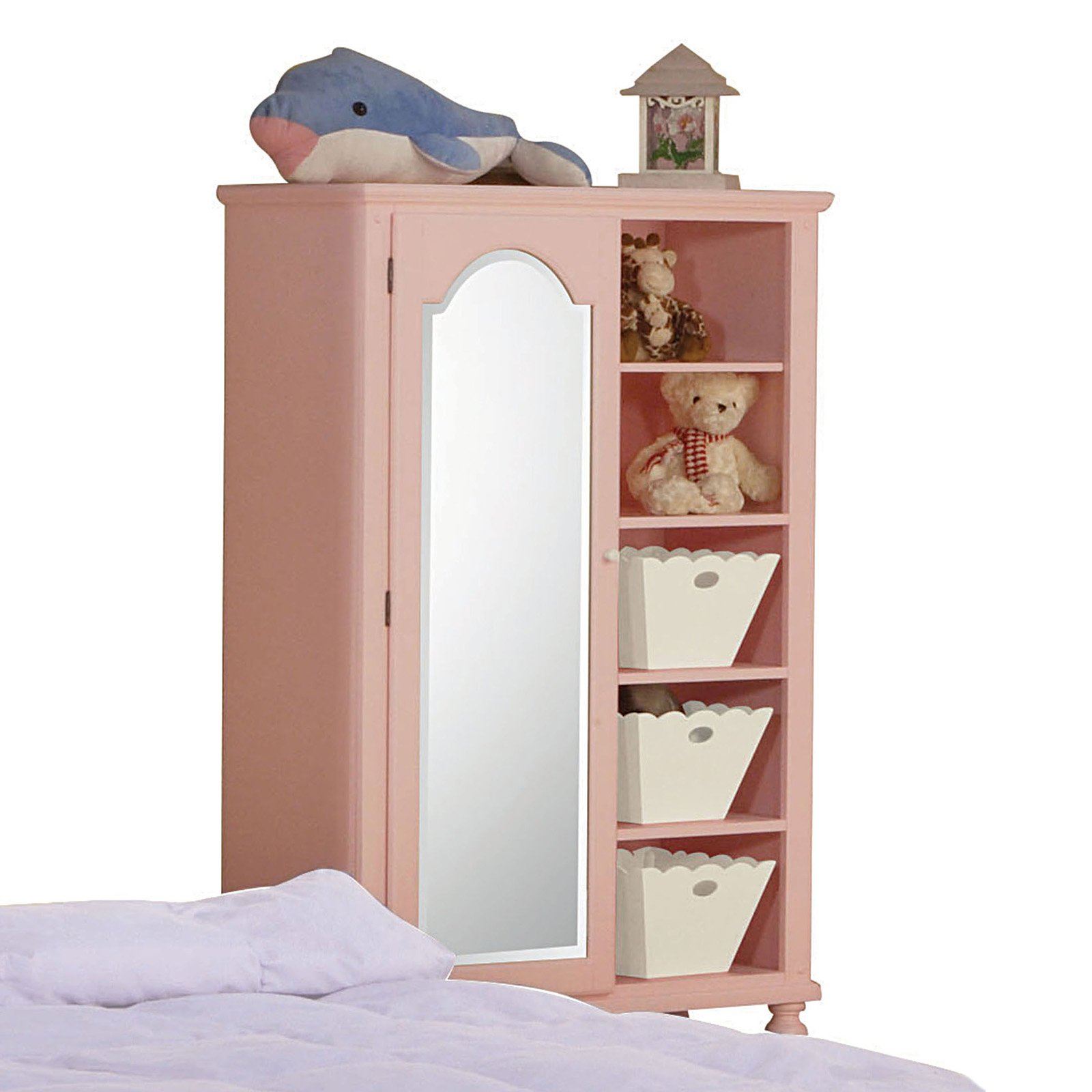 Acme Floresville Chest with Mirror and Baskets, Pink and White Flower by Acme