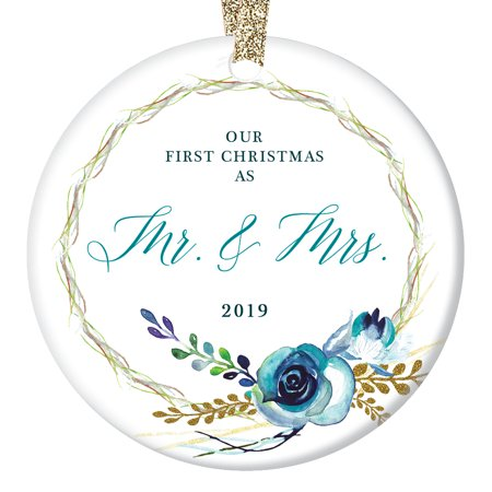 Shabby Chic Mr & Mrs Christmas Ornament 2019, Our First Married Couple Wedding Gift Boho Floral Wreath Country Decorations Ceramic Present 3