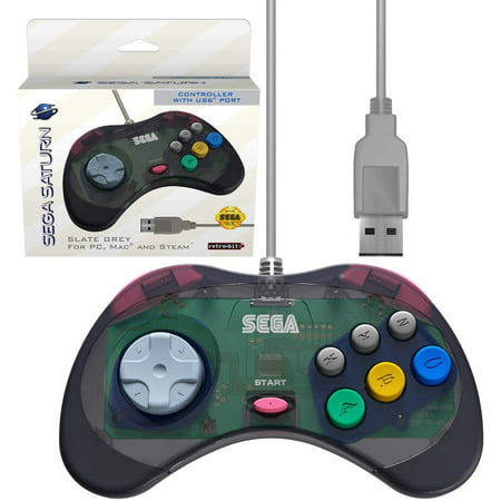 Retro-Bit Official Sega Saturn USB Controller Pad for PC, Mac, Steam,  RetroPie, Raspberry Pi - USB Port - Slate Gray