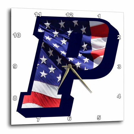 3dRose American Flag P, Wall Clock, 10 by 10-inch