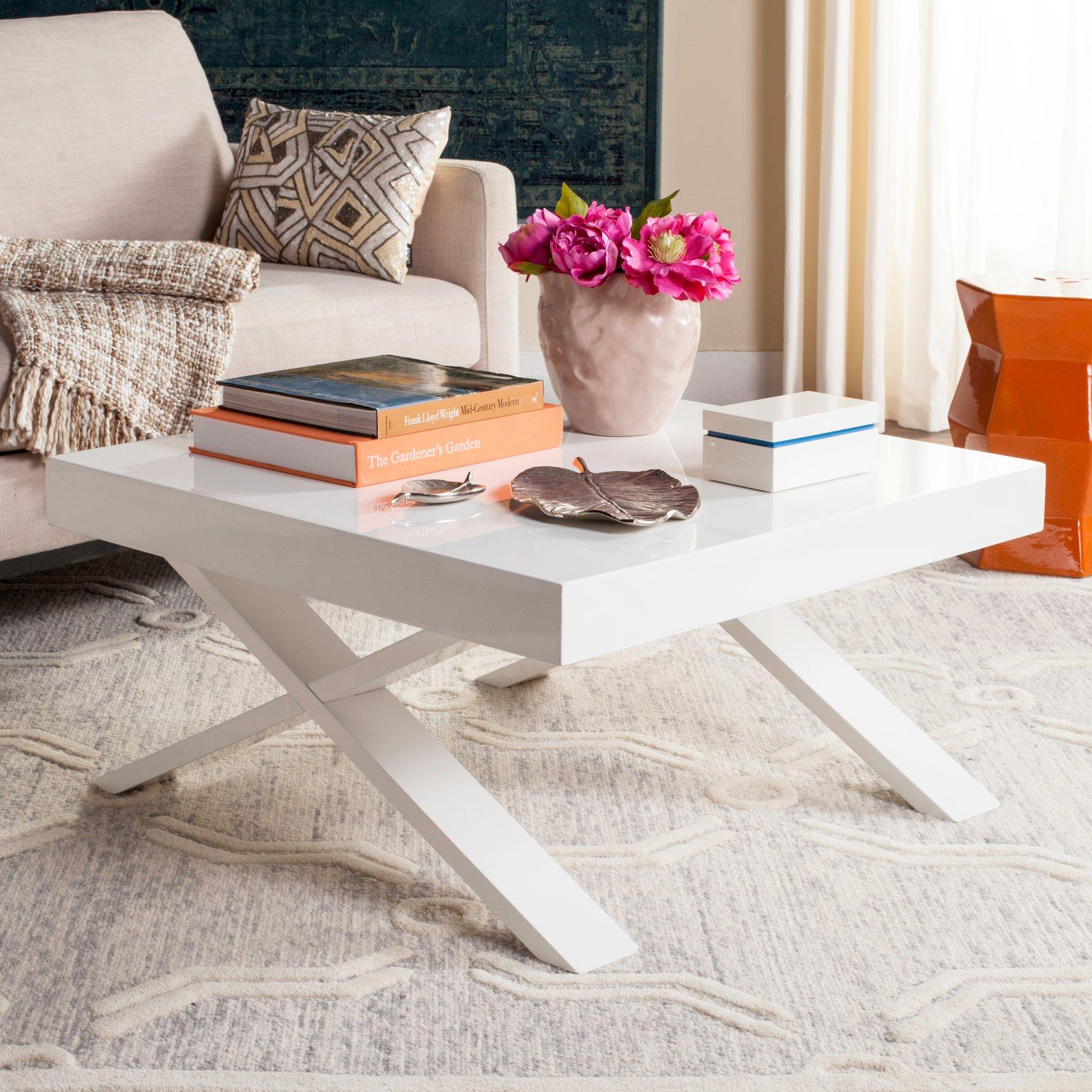 "Safavieh Harrison 31.5"" Square Mid Century Scandinavian Lacquer Coffee Table, White"