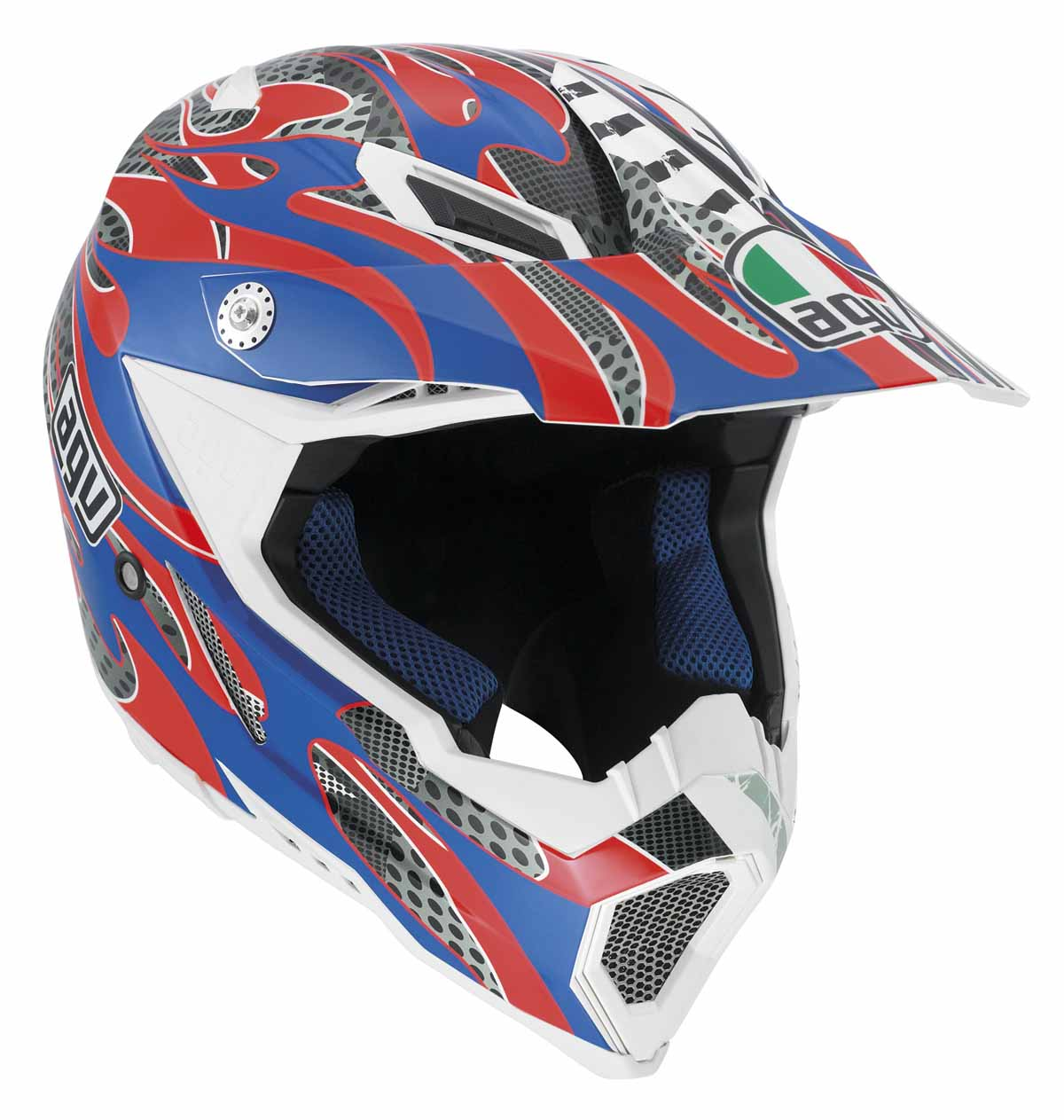 AGV AX-8 EVO Flame MX Offroad Helmet Blue/Red LG