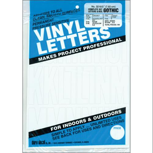 """Permanent Adhesive Vinyl Letters & Numbers 3""""-Gothic/White"""
