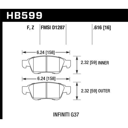Hawk Infiniti G35 Sport/G37 Performance Ceramic Street Front Brake -
