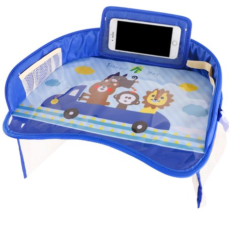 Supersellers Kids Baby Toddler Multi-function Travel Lap Desk Tray Universal Fit for Car Seat, Stroller - Portable Car Drawing Board, Snacks, Activities Table for Baby Kids Design - Blue Car Seat Tray Table