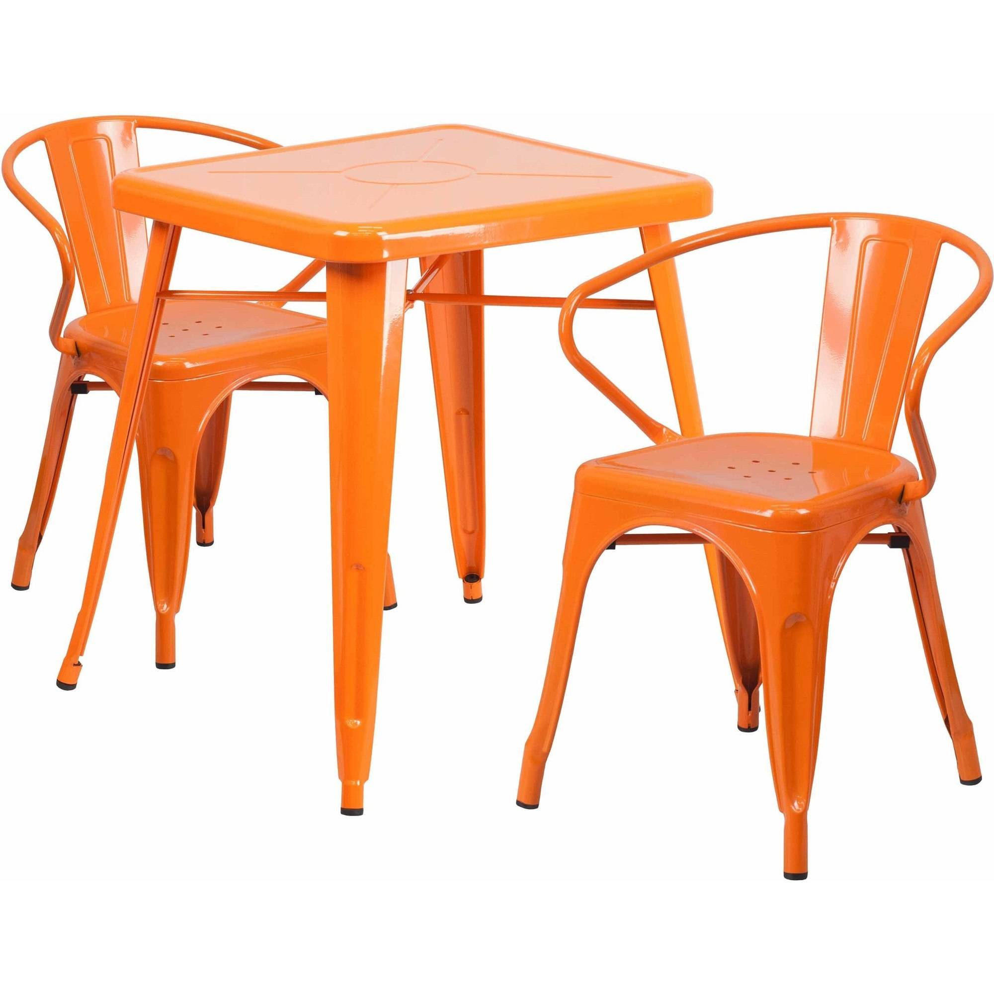 "Flash Furniture 23.75"" Square Metal Indoor-Outdoor Table Set with 2 Arm Chairs, Multiple Colors"