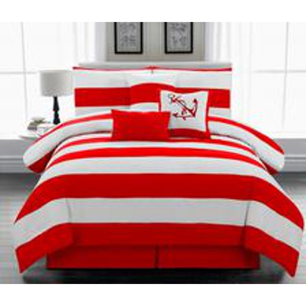 Legacy Decor 7pc. Microfiber Nautical Themed Comforter set, Red