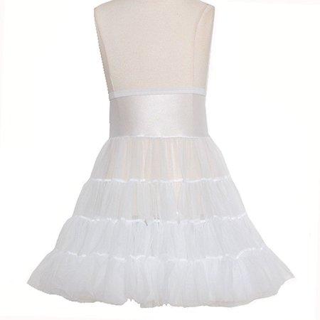 Little Girl 7 White Tea Length Bouffant Nylon Soft Petticoat Half Slip (Nylon Petticoats)