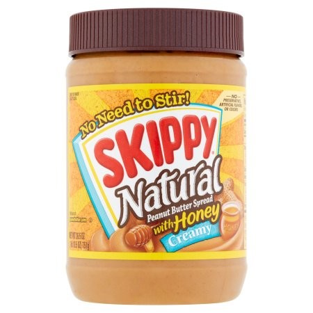 Skippy Natural Peanut Butter, Creamy, Honey, 26.5 Oz