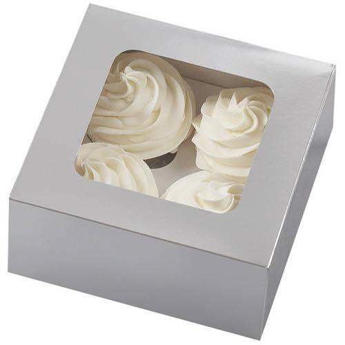 Wilton 4-Cavity Cupcake Box, Silver 3 ct. 415-1359