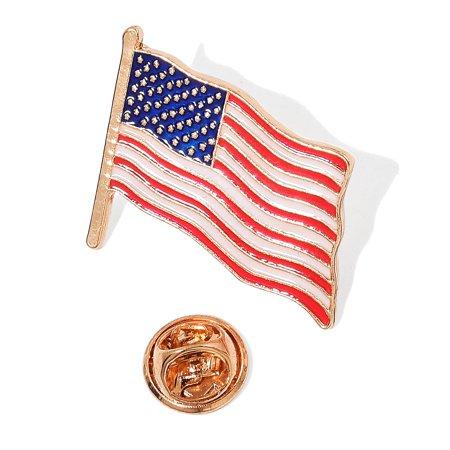 Goldtone American America USA Flag Enamel Lapel Pin Patriotic Emblem Multi Color