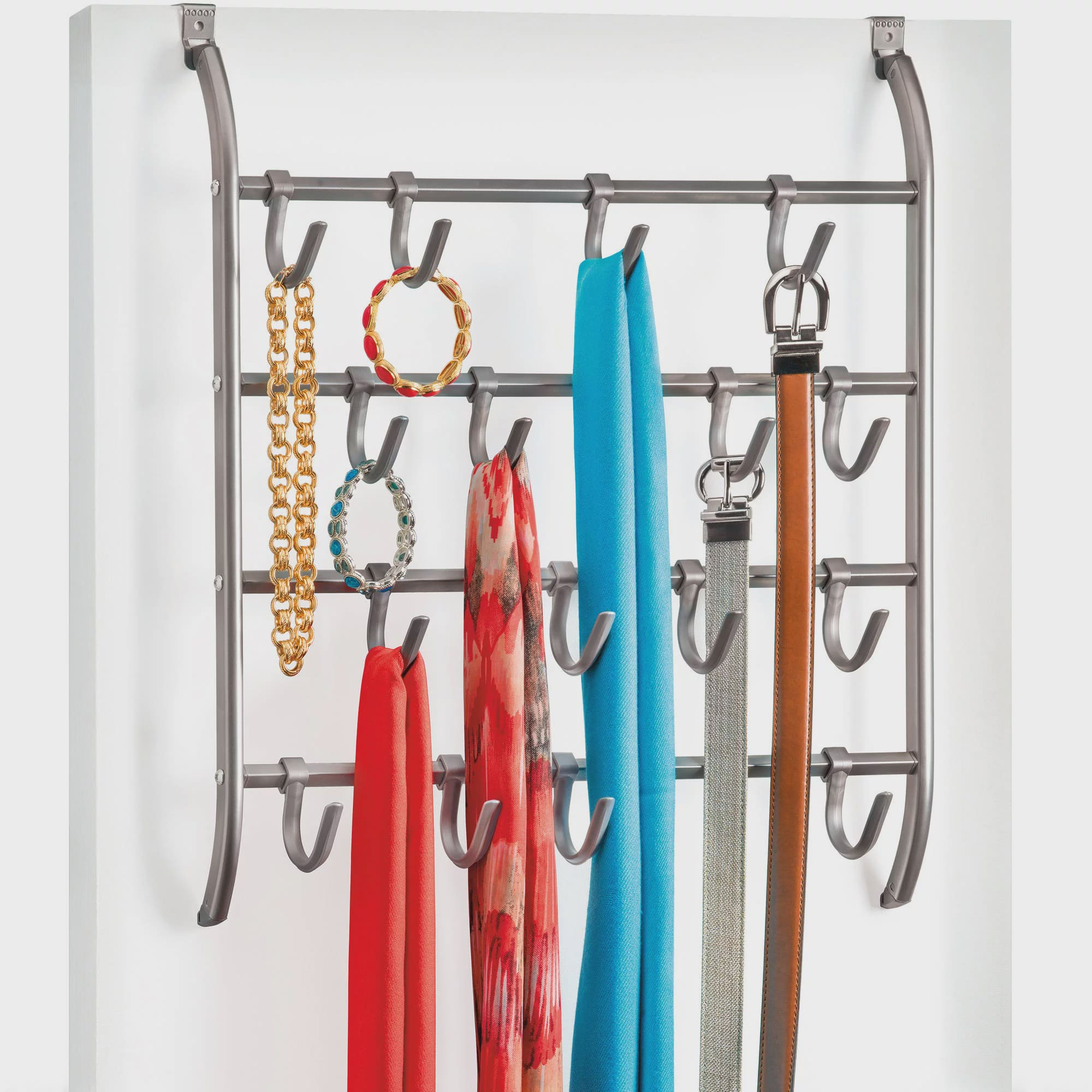 Lynk Over Door Or Wall Mount Scarf Holder, Belt, Hat, Jewelry, Accessory  Hanger, 16 Hook Organizer Rack, Platinum   Walmart.com