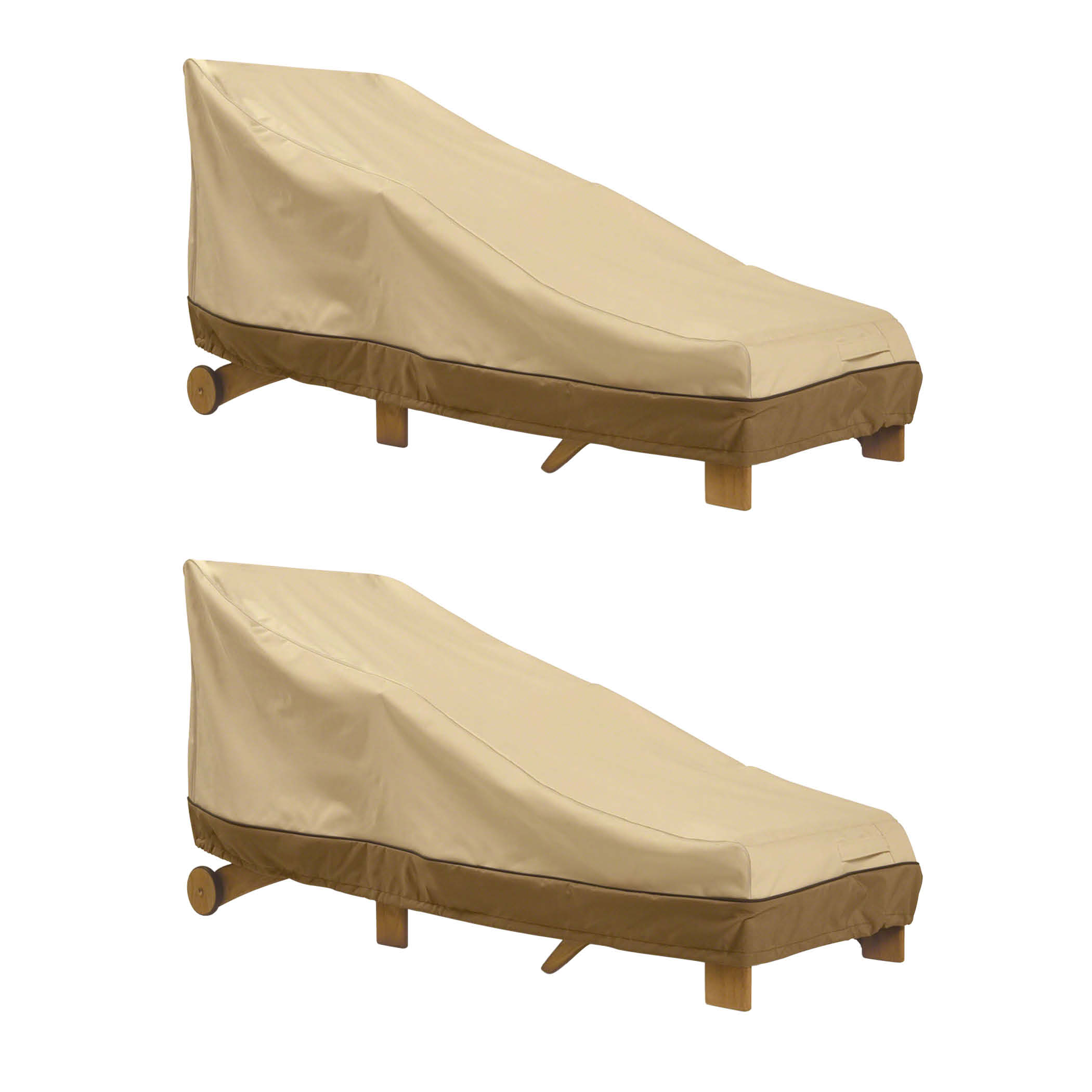 Classic Accessories Veranda Patio Chaise Lounge Cover - Durable and Water Resistant Patio Cover, Medium, 2-Pack