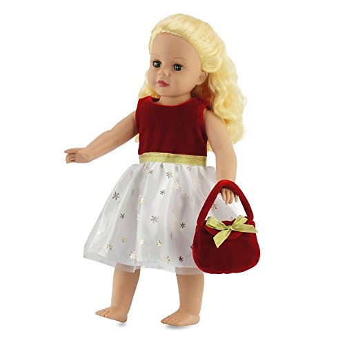 "18 Inch Doll Clothes - Red and White Celebration Dress w/ Purse | Fits 18"" American Girl Dolls 