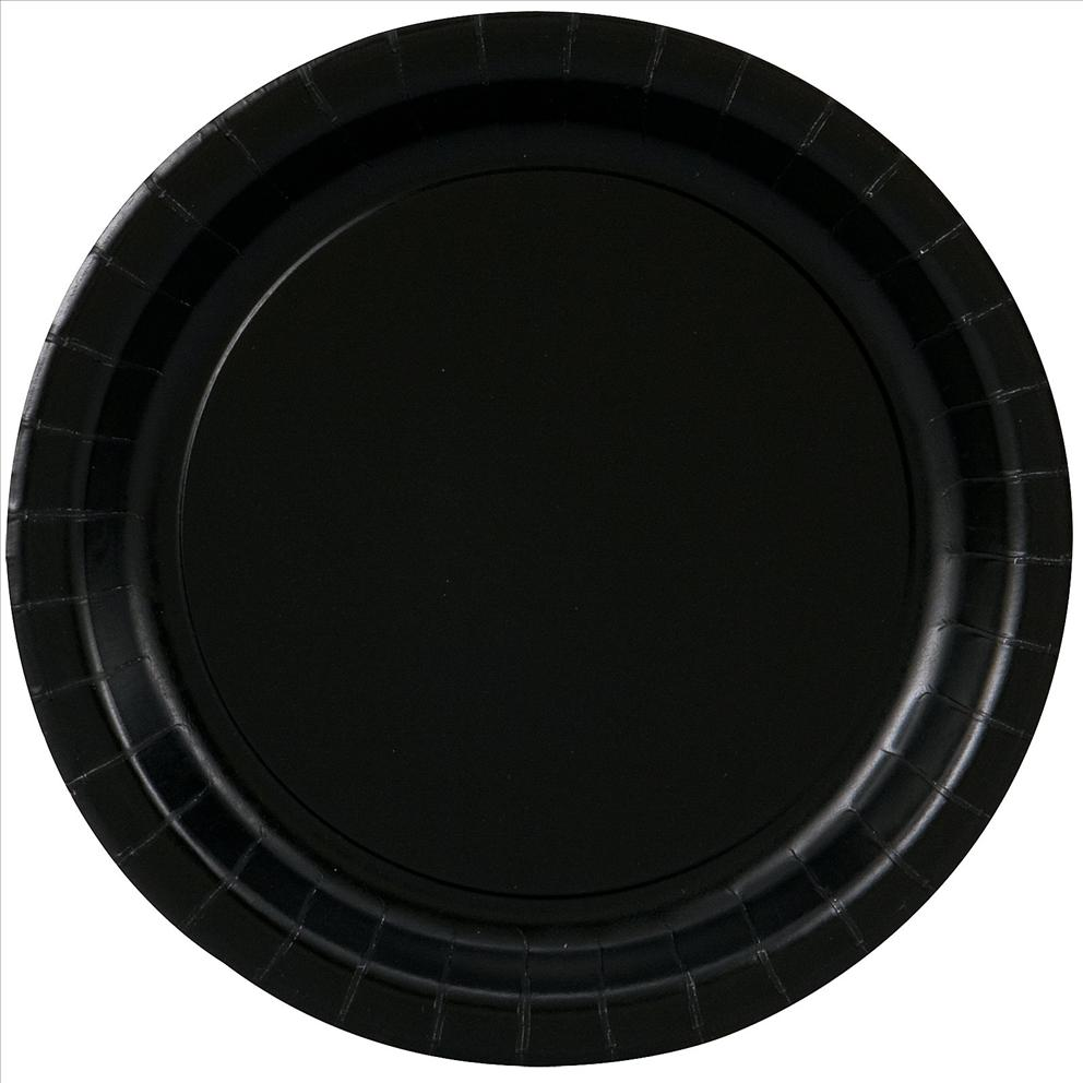 Paper Plates, 7 in, Black, 20ct
