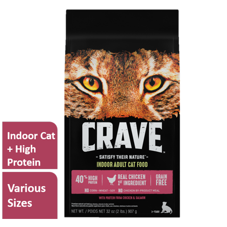 Crave Indoor Grain Free Dry Cat Food with Protein From Chicken and Salmon Bag, 10 (Best Food In Don T Starve Together)
