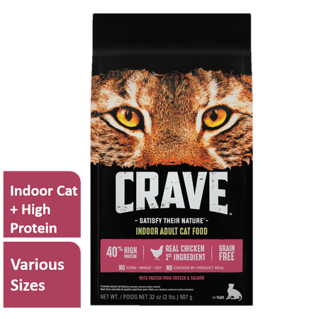 Crave Indoor Grain Free Dry Cat Food with Protein From Chicken and Salmon Bag, 10