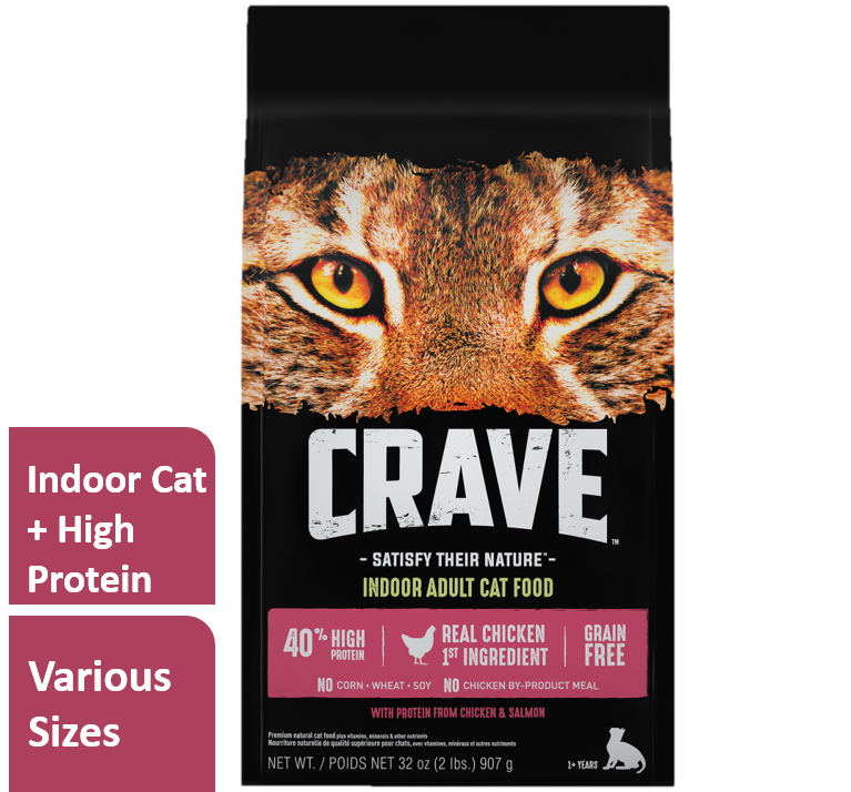 Crave Grain-Free Indoor Health Chicken & Salmon Dry Cat Food (Various Sizes)